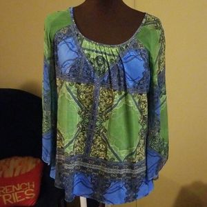 Blue and Green Chico's Top